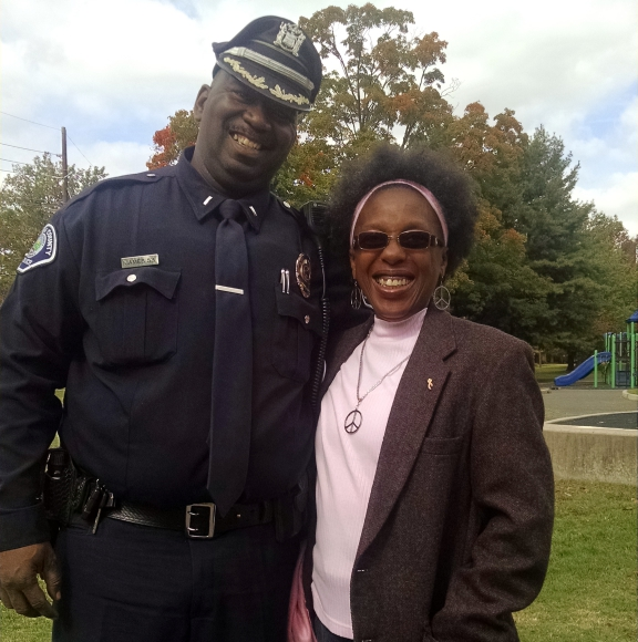 Lt. Zsakheim James and Parkside resident Sheila Green. Credit: Matt Skoufalos.