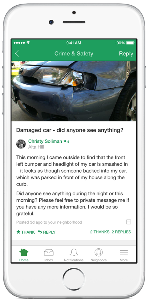 An iPhone screenshot of Nextdoor in use. Credit: Nextdoor.com.