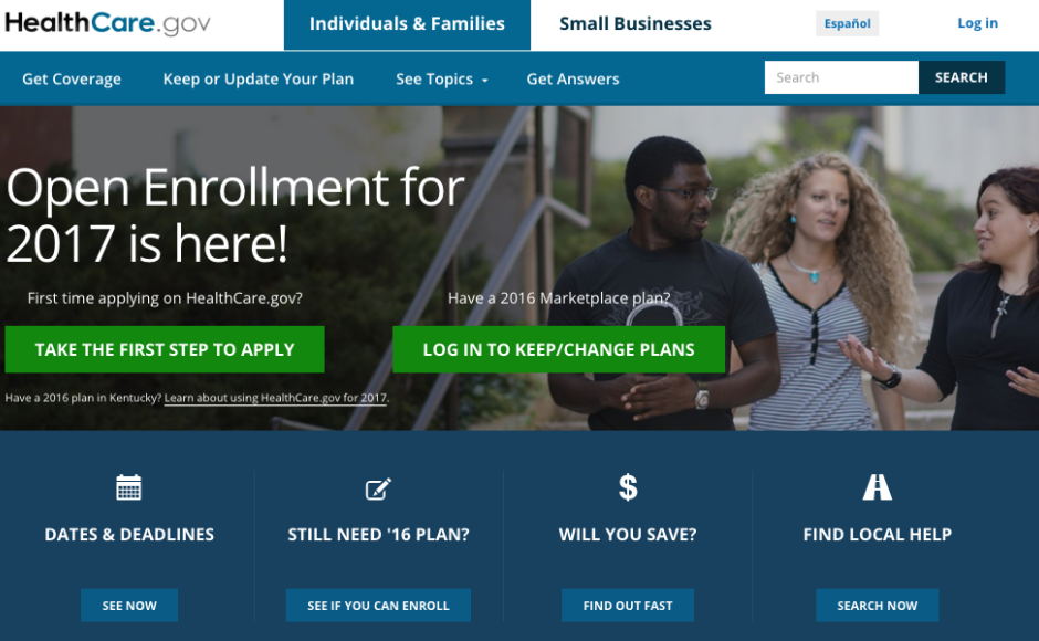 Healthcare.gov enrollment screen. Credit: Healthcare.gov.
