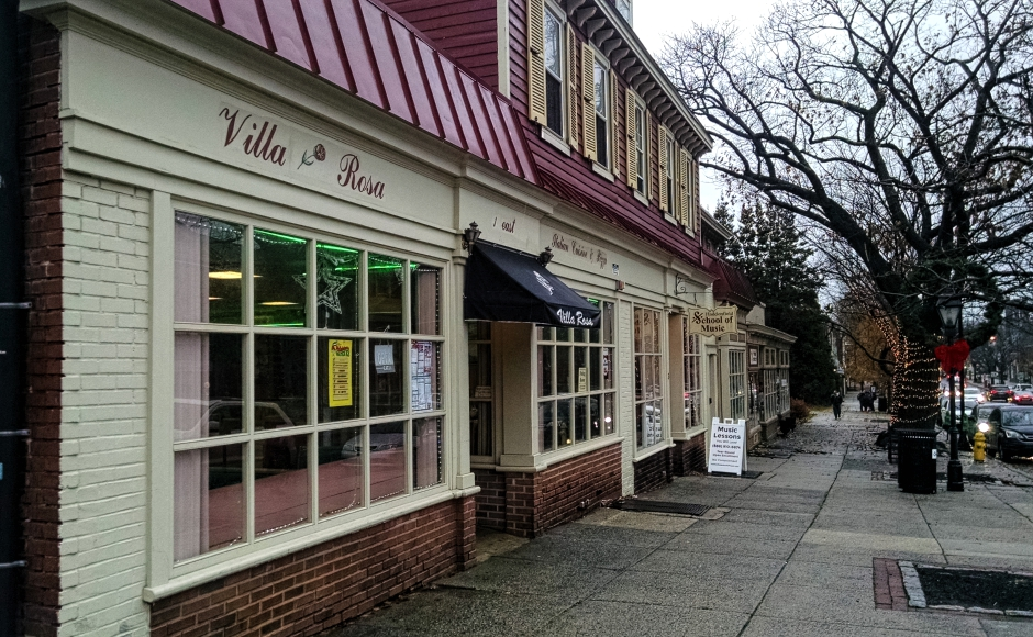 For 33 years, Villa Rosa has occupied the property at 1 Kings Highway East in Haddonfield. Credit: Matt Skoufalos.