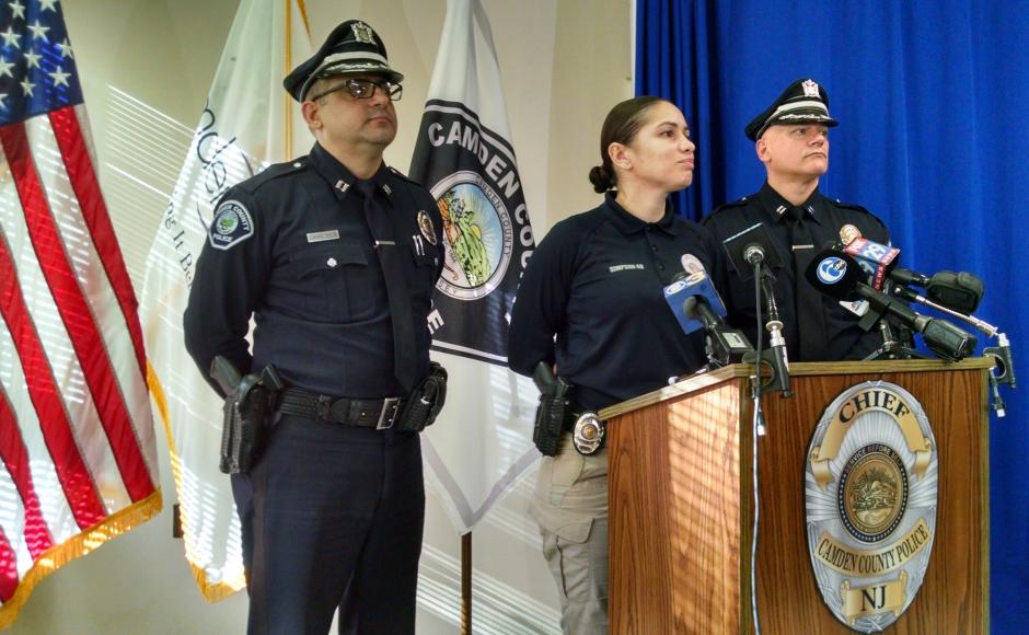 (from left): Camden County Police Capt. Gabriel Camacho, Sgt. Jannell Simpson, Capt. Richard Verticelli. Credit: Matt Skoufalos.