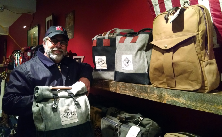 Mitch Gorshin retails The Factory Workers line alongside products from Filson, Duluth Trading Company, Topo, and others. Credit: Matt Skoufalos.