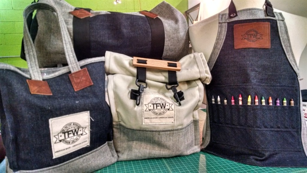 The Factory Workers line includes utility bags, tote bags, work aprons, and backpacks. Credit: Matt Skoufalos.