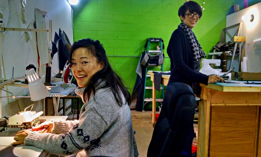 Designers Morgan Kato (right) and Sara hand-make every item in The Factory Workers line. Credit: Matt Skoufalos.