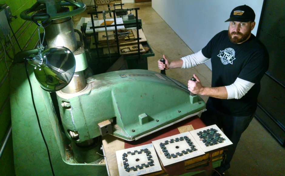 Marchetty presses all the leather components of The Factory Workers line. Credit: Matt Skoufalos.