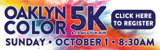 Oaklyn's Annual Color 5K Run, 1.5 Fun Run/Walk Oct. 1
