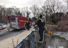 Collingswood Firefighters Recover Dog from Icy Newton Creek