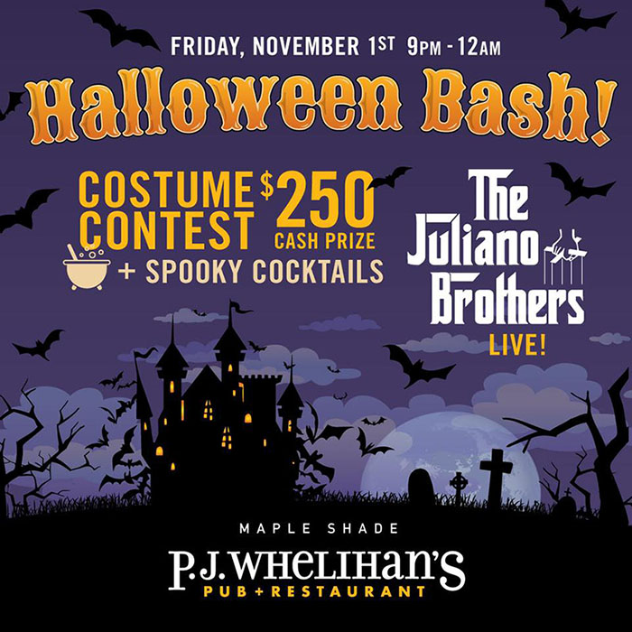 P.J. Whelihan's Maple Shade Halloween Bash with $250 Costume Contest